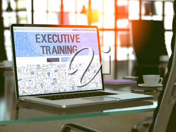 Executive Training Concept Closeup on Landing Page of Laptop Screen in Modern Office Workplace. Toned Image with Selective Focus. 3D Render.