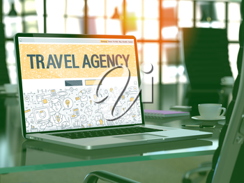 Travel Agency Concept. Closeup Landing Page on Laptop Screen in Doodle Design Style. On Background of Comfortable Working Place in Modern Office. Blurred, Toned Image. 3D Render.