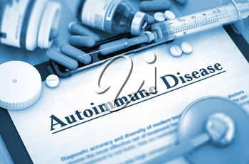 Autoimmune Disease, Medical Concept with Pills, Injections and Syringe. Autoimmune Disease - Medical Report with Composition of Medicaments - Pills, Injections and Syringe. 3D.