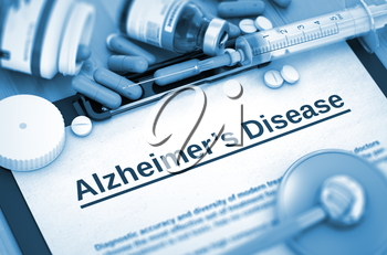 Alzheimer's Disease - Medical Report with Composition of Medicaments - Pills, Injections and Syringe. 3D. Toned Image.