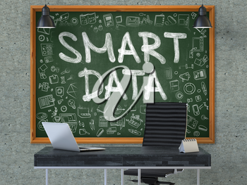 Smart Data - Hand Drawn on Green Chalkboard in Modern Office Workplace. Illustration with Doodle Design Elements. 3D.