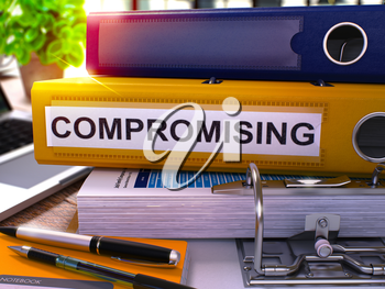 Compromising - Yellow Office Folder on Background of Working Table with Stationery and Laptop. Compromising Business Concept on Blurred Background. Compromising Toned Image. 3D.