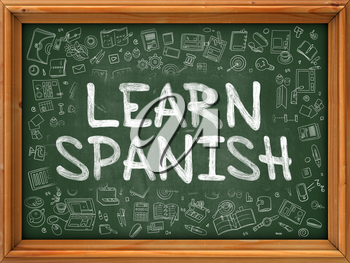 Learn Spanish - Hand Drawn on Green Chalkboard with Doodle Icons Around. Modern Illustration with Doodle Design Style.