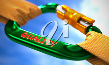 Green Carabiner between Orange Ropes on Sky Background, Symbolizing the Quality. Selective Focus. 3D Render.