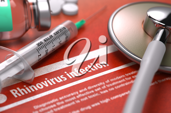 Rhinovirus infection - Printed Diagnosis on Orange Background and Medical Composition - Stethoscope, Pills and Syringe. Medical Concept. Blurred Image. 3D Render.