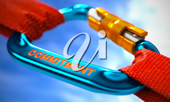 Blue Carabiner between Red Ropes on Sky Background, Symbolizing the Commitment. Selective Focus. 3D Render.