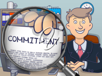 Commitment. Man Holds Out a Paper with Text Commitment through Lens. Multicolor Modern Line Illustration in Doodle Style.