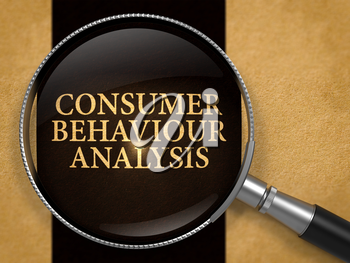 Consumer Behaviour Analysis through Loupe on Old Paper with Black Vertical Line Background. 3D Render.