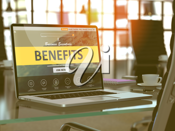 Benefits Concept - Closeup on Laptop Screen in Modern Office Workplace. Toned Image with Selective Focus. 3D Render.