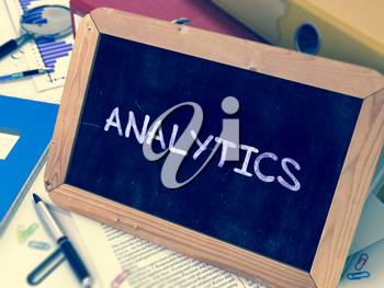 Hand Drawn Analytics Concept  on Chalkboard. Blurred Background. Toned Image. 3D Render.