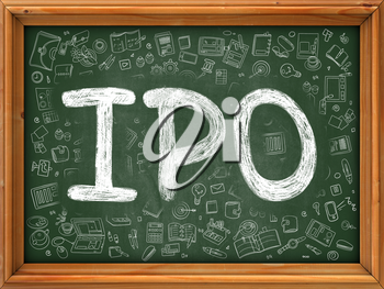 Hand Drawn  IPO - Initial Public Offering- on Green Chalkboard. Hand Drawn Doodle Icons Around Chalkboard. Modern Illustration with Line Style.