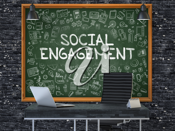 Social Engagement - Handwritten Inscription by Chalk on Green Chalkboard with Doodle Icons Around. Business Concept in the Interior of a Modern Office on the Dark Brick Wall Background. 3D.