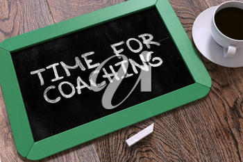 Handwritten Time for Coaching on a Green Chalkboard. Top View Composition with Chalkboard and White Cup of Coffee. 3D Render.