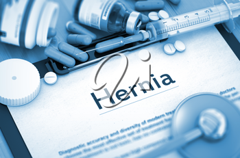 Hernia - Medical Report with Composition of Medicaments - Pills, Injections and Syringe. Diagnosis - Hernia On Background of Medicaments Composition - Pills, Injections and Syringe. Toned Image. 3D.