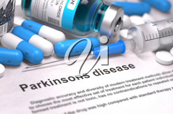 Diagnosis - Parkinsons Disease. Medical Report with Composition of Medicaments - Blue Pills, Injections and Syringe. Blurred Background with Selective Focus. 3D Render.