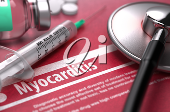 Myocarditis - Medical Concept on Red Background with Blurred Text and Composition of Pills, Syringe and Stethoscope. 3D Render.