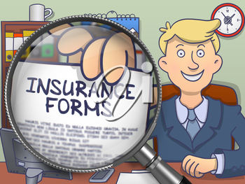 Man Welcomes in Office and Showing a Paper with Concept Insurance Forms. Closeup View through Magnifying Glass. Multicolor Doodle Style Illustration.
