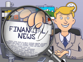 Businessman Showing a Paper with Inscription Financial News. Closeup View through Lens. Colored Modern Line Illustration in Doodle Style.