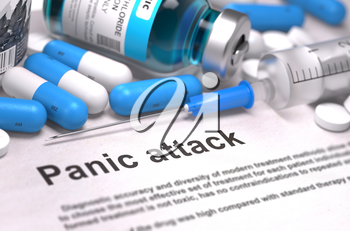 Diagnosis - Panic attack. Medical Report with Composition of Medicaments - Blue Pills, Injections and Syringe. Blurred Background with Selective Focus. 3D Render.