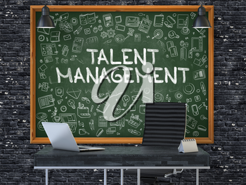 Talent Management Concept Handwritten on Green Chalkboard with Doodle Icons. Office Interior with Modern Workplace. Dark Brick Wall Background. 3D.