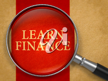Learn Finance through Magnifying Glass on Old Paper with Crimson Vertical Line Background. 3D Render.