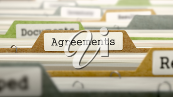 Agreements Concept. Colored Document Folders Sorted for Catalog. Closeup View. Selective Focus. 3D Render.