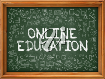 Online Education - Hand Drawn on Chalkboard. Online Education with Doodle Icons Around.