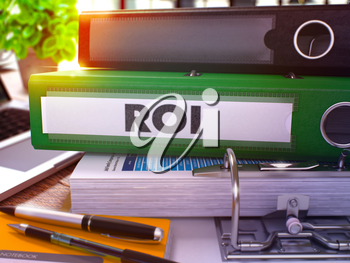 Green Office Folder with Inscription ROI - Return on Investment - on Office Desktop with Office Supplies and Modern Laptop. ROI Business Concept on Blurred Background. ROI- Toned Image. 3D