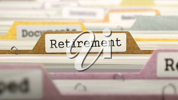 File Folder Labeled as Retirement in Multicolor Archive. Closeup View. Blurred Image. 3D Render.