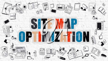 Multicolor Concept - Site Map Optimization - on White Brick Wall with Doodle Icons Around. Modern Illustration with Doodle Design Style.