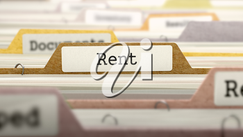 Folder in Colored Catalog Marked as Rent Closeup View. Selective Focus. 3D Render.