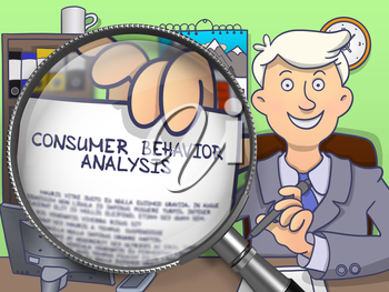 Man Sitting in Office and Showing Text on Paper Consumer Behavior Analysis. Closeup View through Lens. Colored Doodle Style Illustration.
