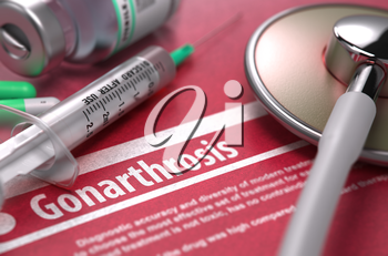 Gonarthrosis - Medical Concept on Red Background with Blurred Text and Composition of Pills, Syringe and Stethoscope. 3D Render.