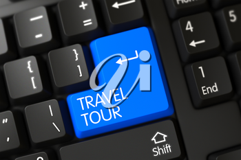 Travel Tour Key. PC Keyboard with the words Travel Tour on Blue Keypad. Keypad Travel Tour on Computer Keyboard. Travel Tour on Black Keyboard Background. 3D Illustration.