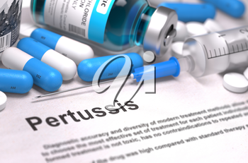 Diagnosis - Pertussis. Medical Concept with Blue Pills, Injections and Syringe. Selective Focus. Blurred Background. 3D Render.