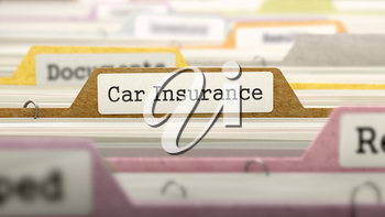 Car Insurance Concept on File Label in Multicolor Card Index. Closeup View. Selective Focus. 3D Render.