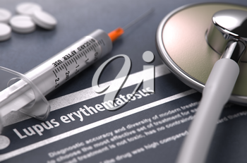 Lupus erythematosus - Printed Diagnosis on Grey Background with Blurred Text and Composition of Pills, Syringe and Stethoscope. Medical Concept. Selective Focus. 3D Render.