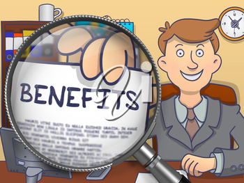 Benefits on Paper in Man's Hand through Lens to Illustrate a Business Concept. Multicolor Doodle Style Illustration.