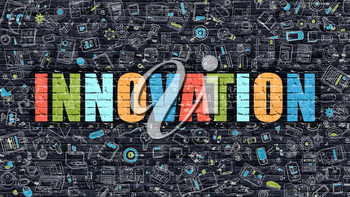 Innovation Concept. Modern Line Style Illustration. Multicolor Innovation Drawn on Dark Brick Wall. Doodle Icons. Doodle Design Style of  Innovation Concept. Innovation on Dark Brick Wall. Innovation.