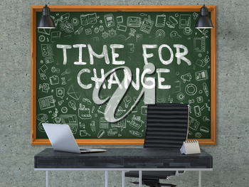 Green Chalkboard on the Gray Concrete Wall in the Interior of a Modern Office with Hand Drawn Time for Change. Business Concept with Doodle Style Elements. 3D.