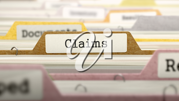 Claims - Folder Register Name in Directory. Colored, Blurred Image. Closeup View. 3D Render.