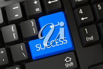Blue Success Button on Keyboard. A Keyboard with Blue Keypad - Success. Success Concept: Black Keyboard with Success, Selected Focus on Blue Enter Button. 3D Illustration.