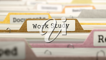 Work Study - Folder Register Name in Directory. Colored, Blurred Image. Closeup View. 3D Render.