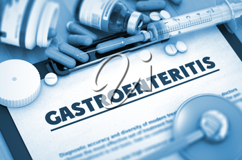 Gastroenteritis Diagnosis, Medical Concept. Composition of Medicaments. Gastroenteritis - Printed Diagnosis with Blurred Text. Gastroenteritis, Medical Concept with Selective Focus. 3D Render.