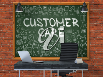 Green Chalkboard with the text Customer Care Hangs on the Red Brick Wall in the Interior of a Modern Office. Illustration with Doodle Style Elements. 3D.