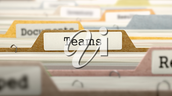 Teams Concept. Colored Document Folders Sorted for Catalog. Closeup View. Selective Focus. 3D Render.