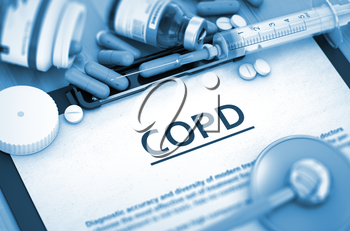 Diagnosis - COPD On Background of Medicaments Composition - Pills, Injections and Syringe. COPD, Medical Concept with Selective Focus. COPD, Medical Concept with Pills, Injections and Syringe. 3D.