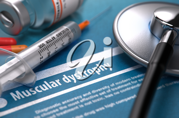 Muscular dystrophy - Medical Concept with Blurred Text, Stethoscope, Pills and Syringe on Blue Background. Selective Focus. 3D Render.