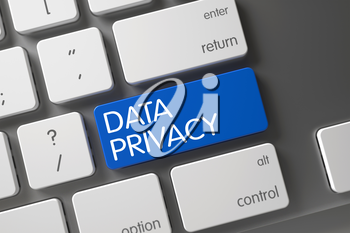 Concept of Data Privacy, with Data Privacy on Blue Enter Keypad on Modern Laptop Keyboard. Metallic Keyboard with the words Data Privacy on Blue Button. 3D Render.