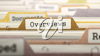 Overviews Concept on File Label in Multicolor Card Index. Closeup View. Selective Focus. 3D Render.